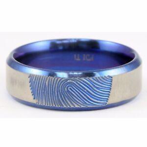 Titanium Silver Anodized Blue Fingerprint Beveled Edge Ring Band 7mm Size 10