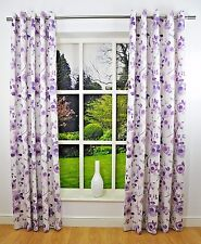 WATER COLOUR PLUM LILAC 90 x 72 READY MADE RING TOP EYELET CURTAINS HEAVY LINED