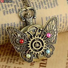 Bronze Butterfly Necklace Pendant Quartz Pocket Chain Watch Vintage Steampunk A