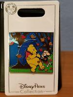 Disney Parks Winnie the Pooh and Piglet rain wind storm leaves slider pin