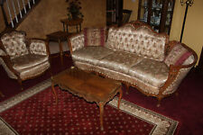 French Carved Antique Couch, Chair And table set. Original Fabric, amazing.
