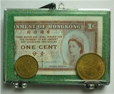 1950 1957 HONG KONG - UNC COIN SET : 5 & 10 CENT + ONE CENT BANK NOTE - BEAUTY