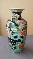 Antique Chinese Black-glazed Famille Rose Bird & Flower Vase Detailed