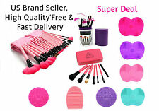 Facial Makeup Brushes Set Foundation Blush +Brush Cleaning Washing Mat Pad Board