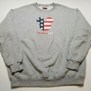 Walt Disney World American Flag Sweatshirt Mens XL Mickey Mouse Gray $48