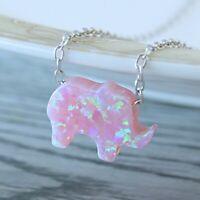 Elephant Opal Necklace Pendant Chain Silver Jewelry Cute Sterling 925 Women Opal