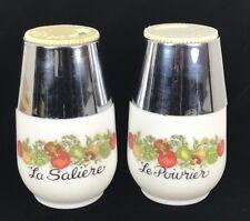 Gemco Salt & Pepper Shaker La Saliere Le Poivrier Milk Glass The Spice of Life