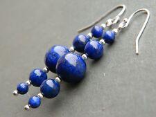 Lapis Lazuli Graduating Round Gem Stone & 925 Sterling Silver Long Drop Earrings