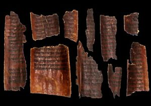 ANCIENT TORAH BIBLE MANUSCRIPT FRAGMENTS 600-800 YEARS OLD FROM YEMEN JUDAICA
