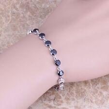 Precious Black Onyx Silver Link Chain Bracelet 6 - 7 inch For Women S0330