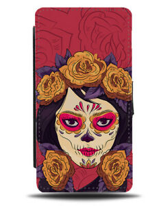 Gothic Day Of The Dead Chick Floral Skeleton Skull Head Flip Wallet Case M735B