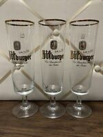 "Lot of 3 Bitburger 9"" Tall Stem Beer Glasses - Pre-Owned"