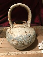 """Handmade Stoneware Pottery Basket with handle Floral Design 9 1/2""""x6"""""""
