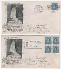 Canada Fdc 1948 Royal Wedding Elizabeth Duke Edinburgh 2 Covers 1 Registered|