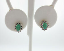 Natural Emeralds Diamonds Solid 10k Yellow Gold Halo Stud Earrings