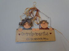 Grandparents Fill the World with Love Wooden Sign Plaque Door Hanging