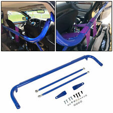Blue Stainless Steel Racing Safety Seat Belt Chassis Roll Harness Bar Kit Rod Fits Toyota