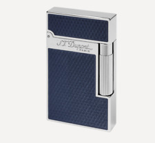 S.T. Dupont Fire Head Lighter Guilloche & Blue Lacquer, ST016252, New In Box