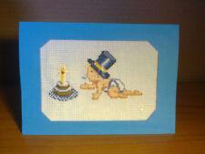 Carte anniversaire 1 an, garçon ,double brodée au point de croix, fait main