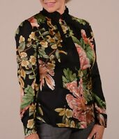 ETCETERA SILK PLEATED COLLAR BLACK FLORAL PRINT BLOUSE sizes 6 8 12 NEW $225