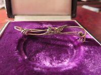 Wunderschöne 835 Silber Brosche Jugendstil Art Deco Zirkonia Organisch Blatt