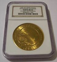 1959 Alaska Statehood Souvenir Brass Token Good For $1 MS64 NGC