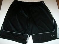 Nike Black/Gray Basketball Shorts Mens 3XL Drawstring Waist Tone On Tone Stripes