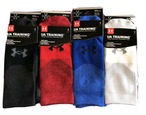 Under Armour Training Crew Socks Mens/Boys M 4-8 Red Blue White Black