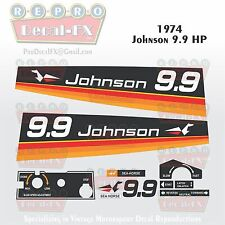 1974 Johnson 9.9 HP Sea Horse Outboard Reproduction 11 Pc Vinyl Decals 9.5 9R74