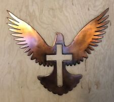 Dove with Cross Rustic Copper Patina Finish Metal Wall Art Hanging