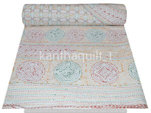 Handmade Cotton Vintage Floral Queen/Double Kantha Quilt Indian Bedspread