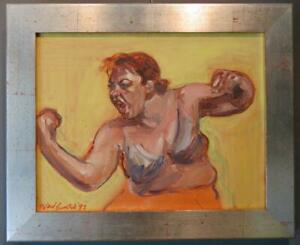 NOEL BENSTED (1970-) British ORIGINAL signed EXPRESSIONIST PORTRAIT Painting