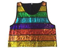NEW Rainbow Sequin Tank Top 1980's Mens Mardi Gras Gay Pride LGBT Unisex MEDIUM