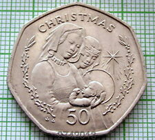 GIBRALTAR 1990 AA 50 PENCE, CHRISTMAS - TWO WOMEN WITH CHILD, UNC