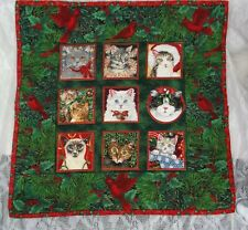 Handmade Christmas Cats Cardinal Quilted Fabric Cloth Wall Hanging Homemade