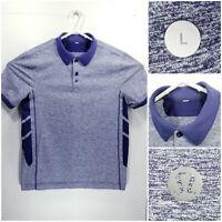 Lululemon Mens Large Vented Golf Shirt Polo Blue Heathered