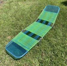 Vintage Jelly Tube PVC Vinyl Tri-Folding Green Blue Lounge Lawn Chair Pool Beach