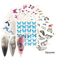 30 Sheet Butterfly Nail Stickers Blue Black Water Transfer Decals Nail Art Decor
