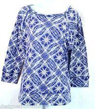 Lucky Brand Women's M Blue Batik Mosaic Print Top Tee Blouse T-Shirt NEW NWT