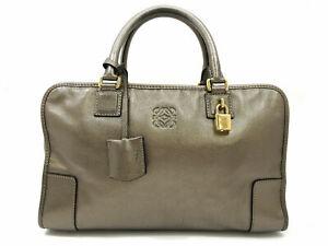 Authentic LOEWE Amazona 36 Leather Hand Bag Metallic Silver Good 87591
