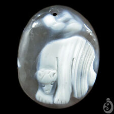 Hand carved Polar bear Natural Calcified Agate Pendant DK08081