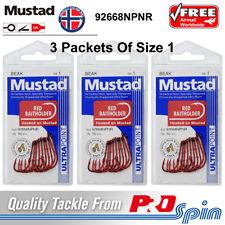 3 Pack Lots Mustad Red Baitholder Size 1 Hooks - 92668NPNR