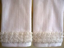 FRILLY ROSE Fingertip/Guest Towel set (2) WHITE Velour Cotton by UtaLace NEW