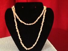 """Natural Stone Pink Color Coral Chip Shape  Necklace 32"""""""