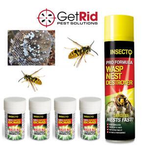 Wasp Nest Killer Foam & Smoke Fogger Fast Acting Kills Large Wasps Hornets