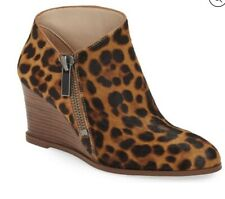 Leopard Boots Size 8 Brown Wedge Ankle 1.State Kaleb NEW Cow Hair