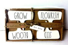 New Rae Dunn Plant Markers Ll Seed Bloom Flourish and Grow Ivory Black Boxed