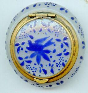 RARE ANTIQUE French Enameled Blue Bird Glass Jewelry Snuff Trinket Box