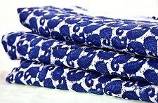 Indian 10 Yard Cotton Hand Block Print Apparel Natural Jaipuri Blue Sari Fabric