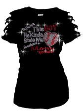 Stole My Heart Baseball, Mom Bling Bling RHINESTONE T-SHIRT,RIPPED CUT OUT S~3XL